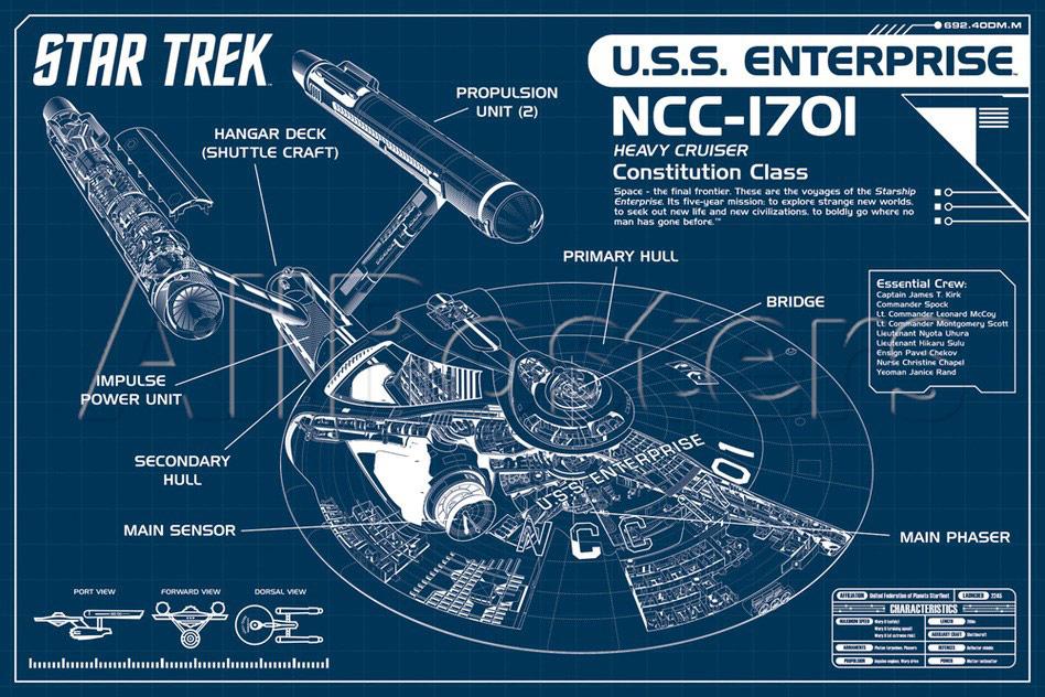 uss enterprise diagram a c compressor capacitor wiring star trek blueprint poster