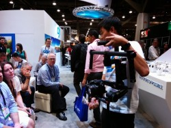 DJI Willis Chung demonstrating the camera stabilization system