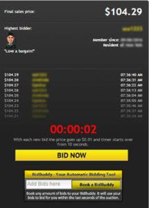 Bidding Screen on DealDash