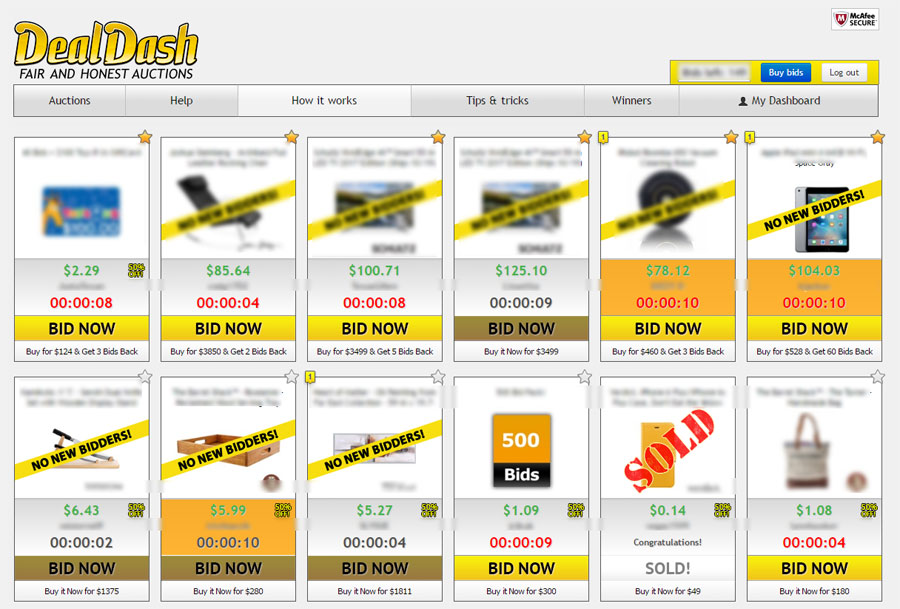 what is dealdash com how to and tips on this online auction