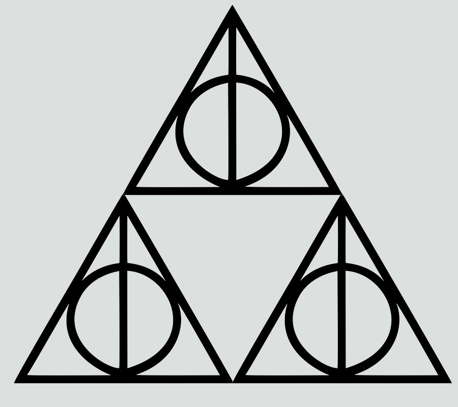 Harry Potter Triforce Deathly Hallows Outline Decal