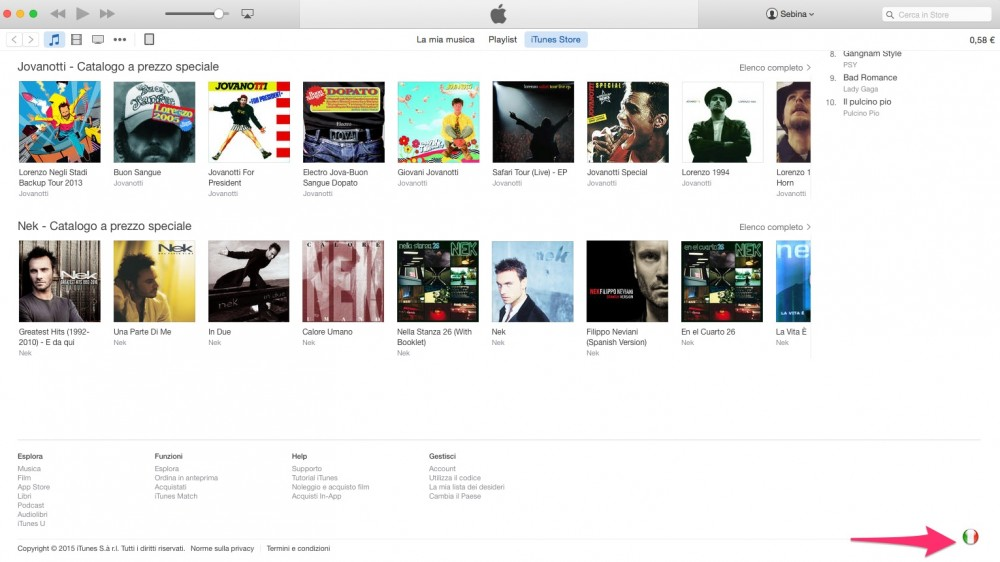 iTunes Store: cambia store