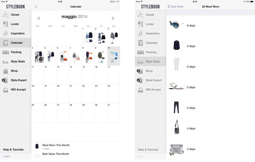 StyleBook: Calendar e Style Stats