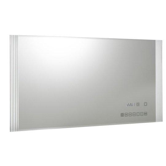 Romantica musica di sottofondo anche in bagno grazie allo specchio retroilluminato con orologio e altoparlanti