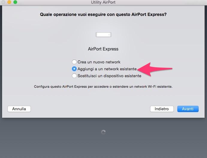 Configurare Utility Airport: aggiungi a network esistente