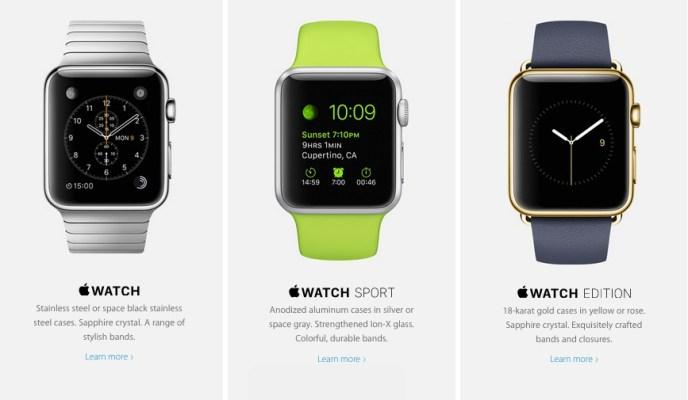 Le 3 versioni dell'Apple Watch