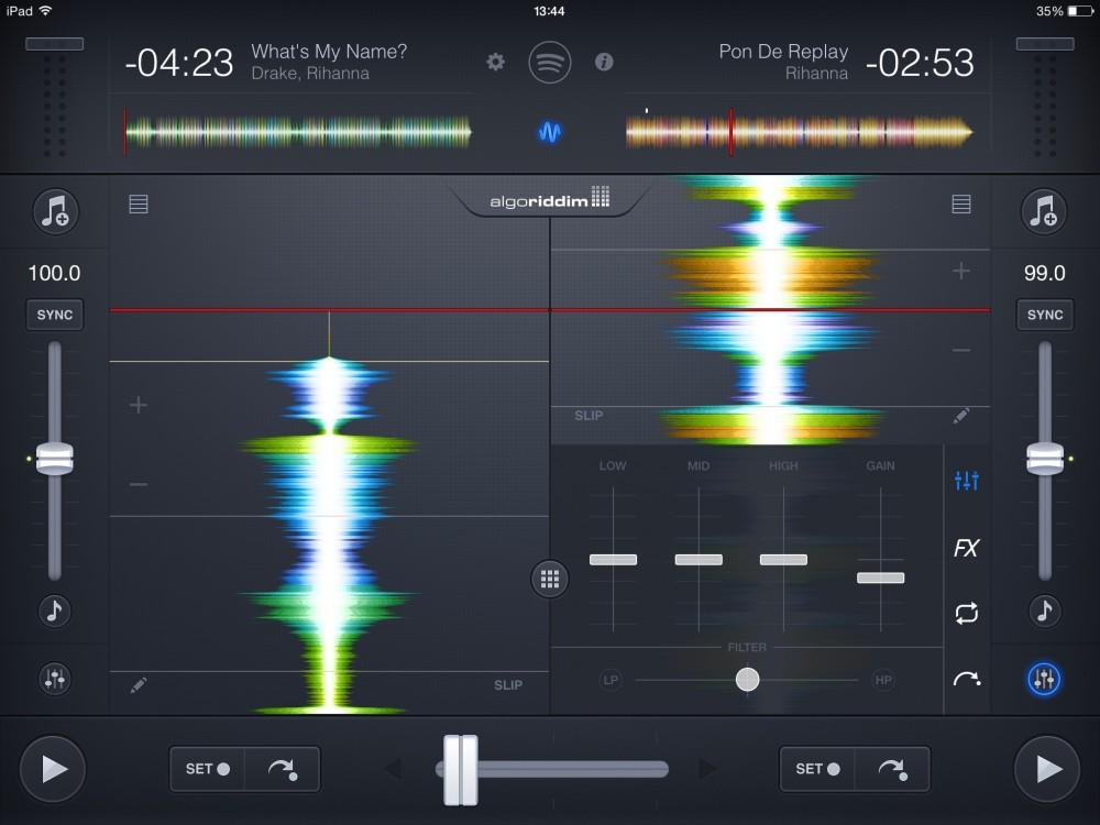 djay-2 - Modalità di visualizzazione a spettro