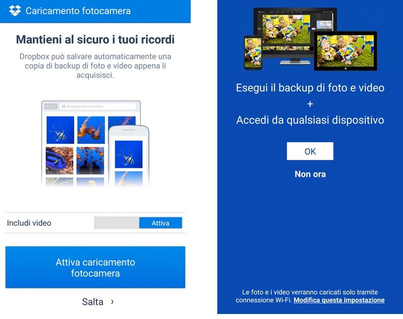 Attiva caricamento automatico delle foto online (Dropbox e OneDrive)