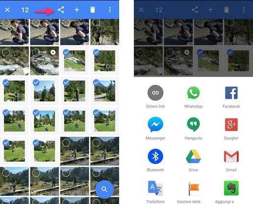Google Foto: come condividere rapidamente molte immagini