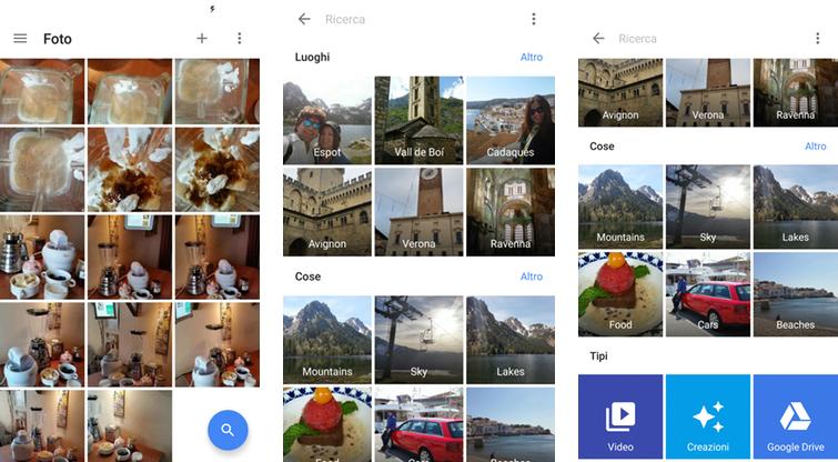Google Foto: i filtri automatici per luoghi, cose e tipi