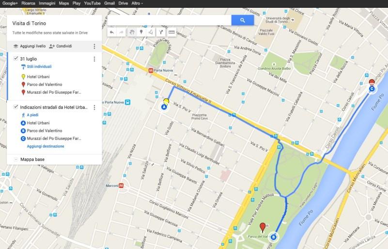 Percorso multiplo su My Maps