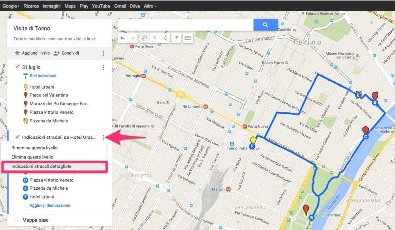 Come sapere tempistiche dell'itinerario My Maps