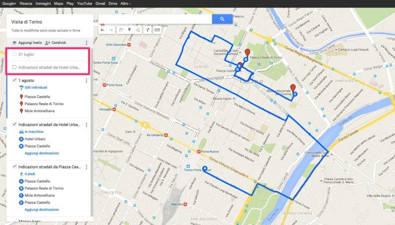 Google My Maps: itinerario a più livelli