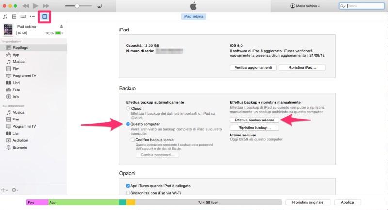 Come fare un backup dell'iPhone su iTunes