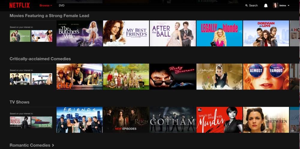 La home personalizzata di Netflix
