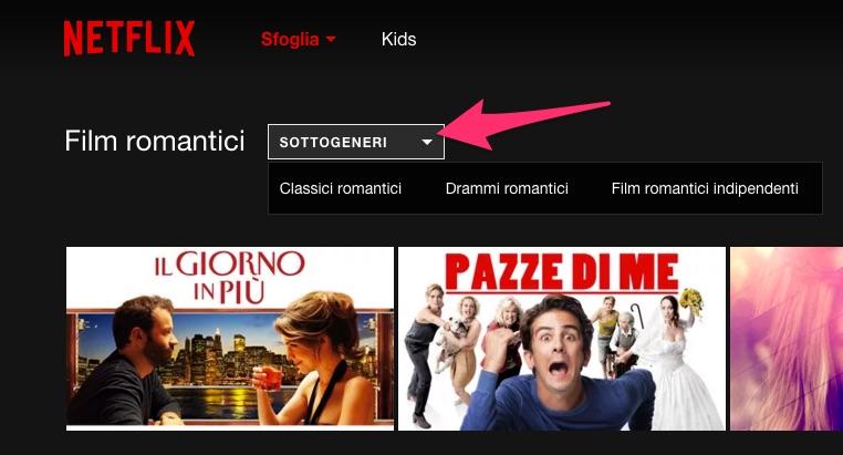 Netflix: come visualizzare alcuni sottogeneri di un genere