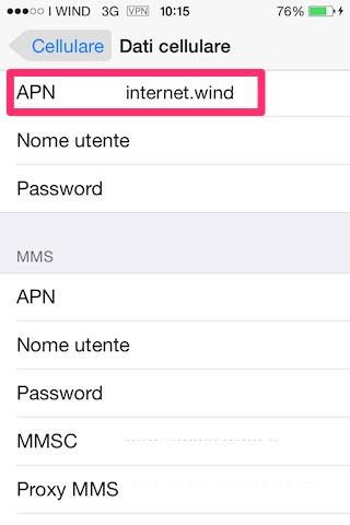 Configurare connessione Internet Wind su iPhone
