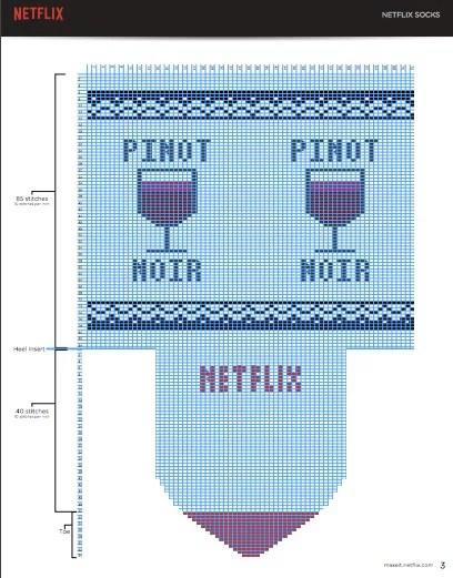 Uno dei cartamodelli in PDF per realizzare le calze Netflix