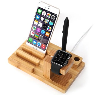Dock station per smartphone e smartwatch di legno