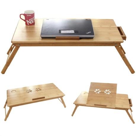 Vassoio di legno con leggio, portabicchiere e fori per le ventole del PC