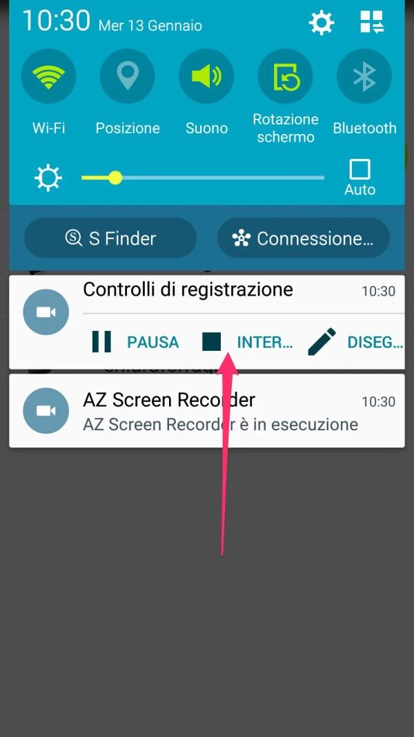 AZ Screen Recorder: come interrompere una registrazione