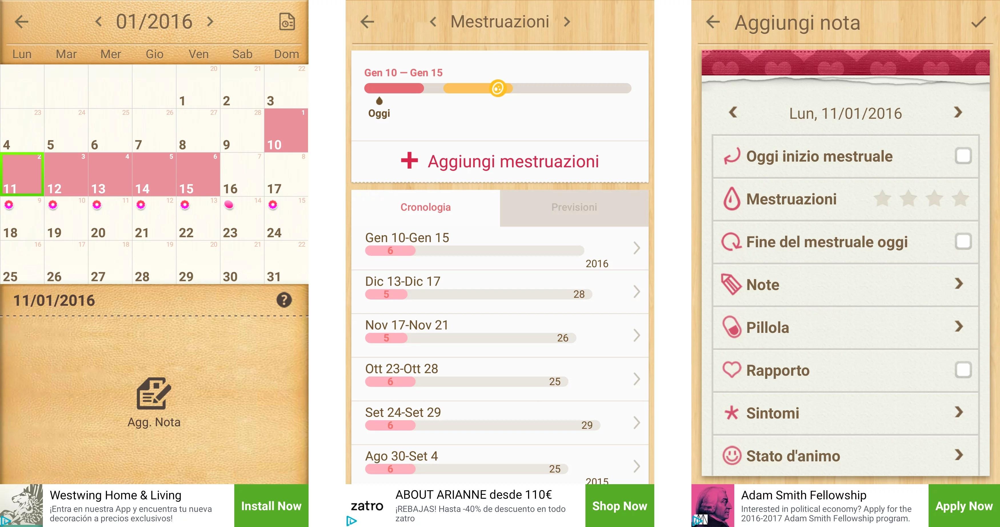 il mio calendario mestruale