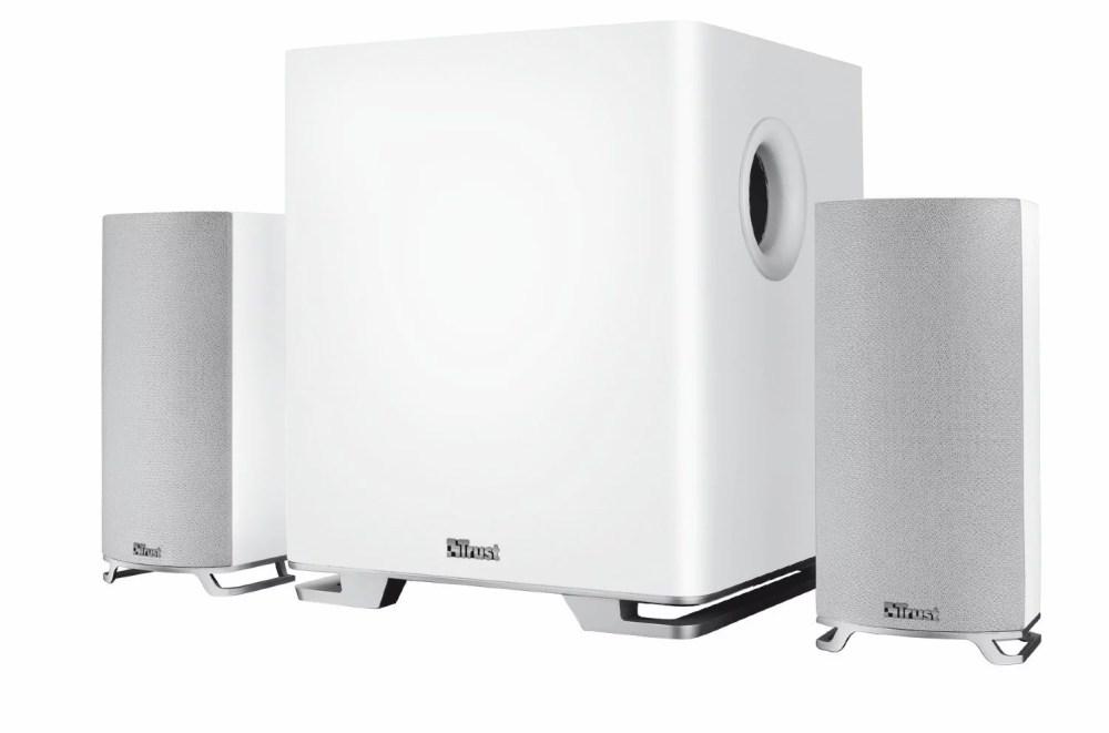 Mitho Trust: set di speaker per TV con subwoofer in legno di colore bianco