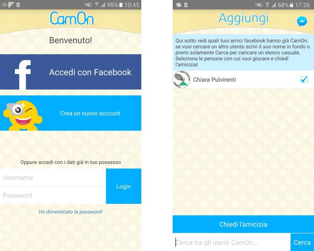 Camon: iscriviti con Facebook e invita i tuoi amici