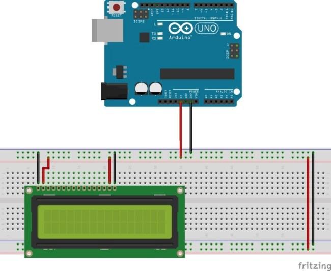 LCD 16X2 con Arduino - Alimentación de la pantalla