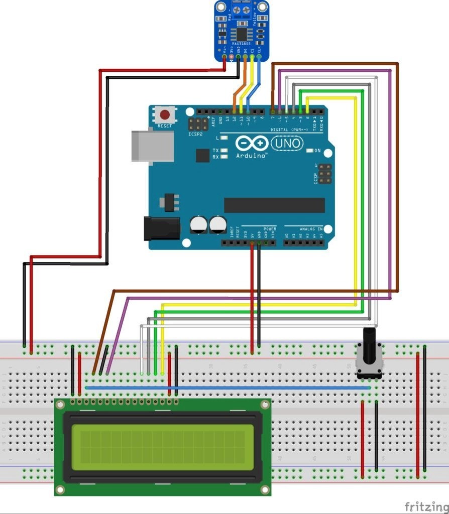 diagrama de conexión termopar con arduino y pantalla lcd