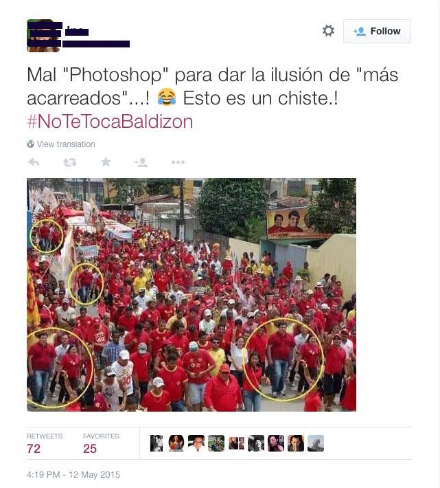Tweet Caminata Baldizon falsa