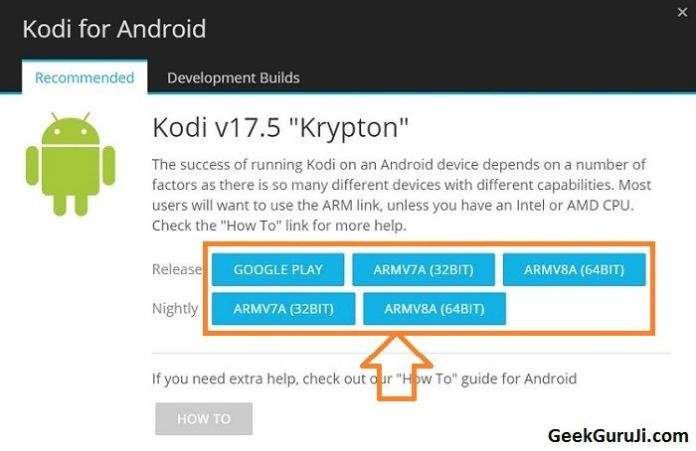 download update for Kodi Android TV box