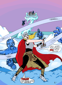 "Editor Amy's original art of Thor, based on ""What if Jane Foster Found the Hammer of Thor?"""