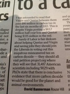 Telegraph climate letter