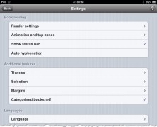 uBooks xl Settings on iPad