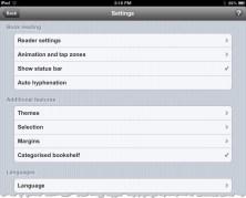 uBooks xl Settings on iPad