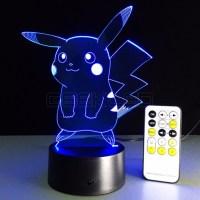 3D Optical Illusion Lamp Night Light Pikachu