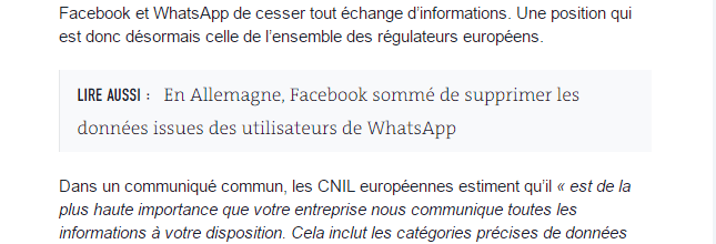 Exemple d'article inséré via un encart sur lemonde.fr
