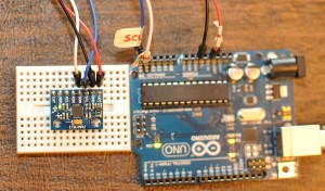The GY-521 connected to an Arduino UNO. Additional connections are needed to use the I2Clib and FreeIMU libraries.