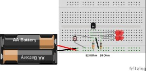 Photoresistor Circuit. Colors on resistors are incorrect.