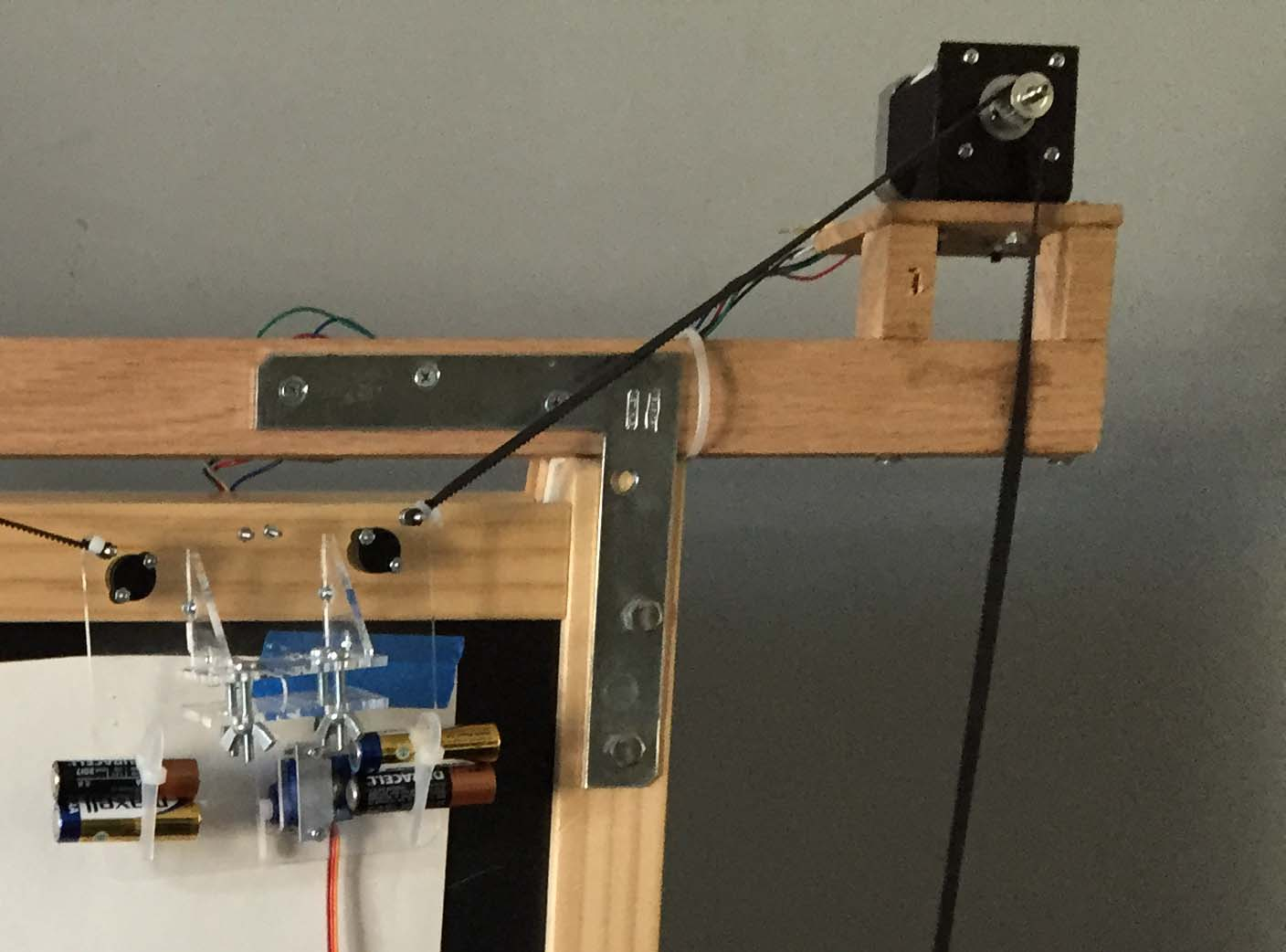 Yawp Yet Another Wall Plotter Geek Mom Projects Circuit Board Picture Frames Clock These Are Awesome For A Geeky Metal Brackets And Wooden Planks Attached The Stepper Motors To Easel Frame