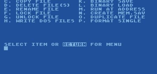 AtariDOS 2.5 Main-Menu Screen.