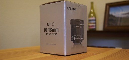 The box for Canon's EF-S 10-18mm f/4.5-5.6 IS STM lens.