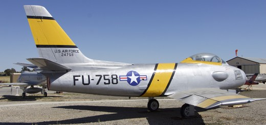 A fine example of a F-86 Sabre jet fighter, by North American Aviation.