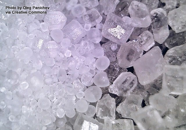 Salt and sugar crystals under a microscope.