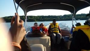 Evening pontoon boat tour of Lake Jo.