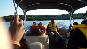 Evening pontoon boat tour of Lake Jo.