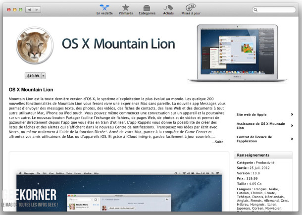 Télécharger Mountain Lion - Geekorner - - 01
