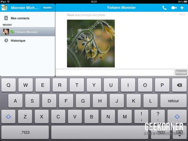 Skype iPad Transfert Photos - Geekorner - 03