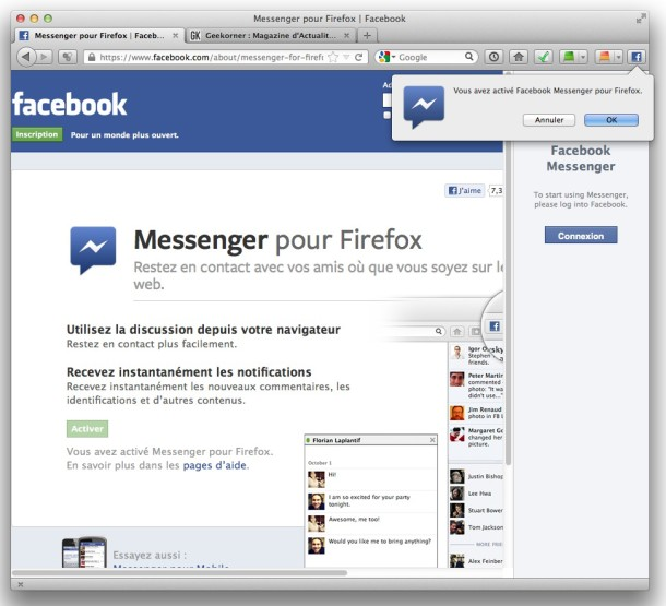 Facebook Messenger pour Firefox - 2 - Geekorner